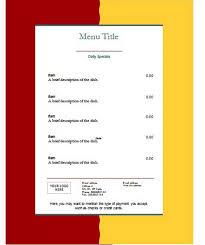 Word Restaurant Menu Templates Free Restaurant Menu Templates For Word Template Business