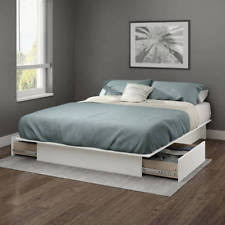 white platform bed with drawers. White Queen Or Full Size Platform Bed Frame With Storage Drawers No Box Spring .
