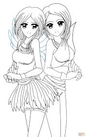 Small Picture Yin and Yang Anime Twins coloring page Free Printable Coloring Pages