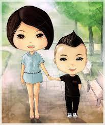 Image result for hí hoạ: chồng lùn vợ cao