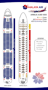Malaya Air Airbus A380 800 Seat Map Label By