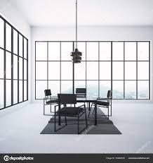 Moderne Grau Esszimmer Interieur Mit Einem Quadratischen