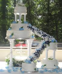 blue wedding cakes fountain. Plain Blue Wedding Cake With Fountain And Stairs On Central Throughout Blue Cakes O