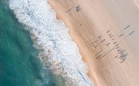 Download 1280x800 Beach Top View Waves Foam Seashore Sand