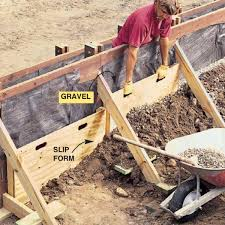 build two 2x4 and 1 2 in plywood slip forms to allow you to backfill with a thin layer of gravel behind the wall shovel about 1 ft of earth against the