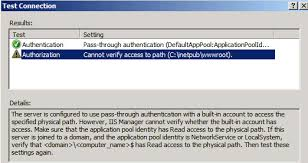 Cannot verify access to path (C:\inetpub\wwwroot)