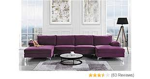 amazon modern large velvet fabric u shape sectional sofa double extra wide chaise lounge couch purple kitchen dining