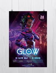Concert Flyer Templates Free Glow And Neon Freebie Party Psd Flyer Template Free Psd