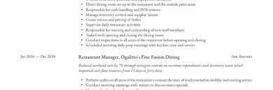 Restaurant Manager Resume Sample Writing Guide