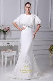 White Satin Mermaid Wedding Dress Winter Wedding Dresses With