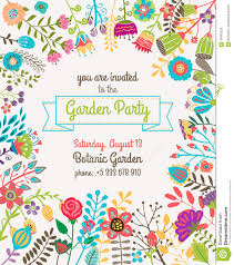 Party Invites Templates Free Garden Or Summer Party Invitation Template Poster Stock Vector