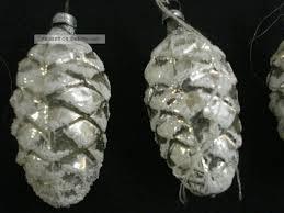 Antiker Christbaumschmuck Um 1900 5 Tannenzapfen Aus Glas