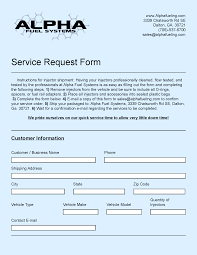 Service Request Form Service Request Form Alpha Fuel Systems 1