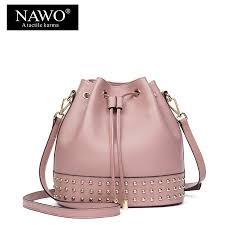 nawo designer drawstring women bags bucket fashion shoulder bags las cross bags cow genuine leather rivet women handbags deals fortune
