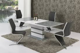 small extending grey glass high gloss dining table and 6 chairs set