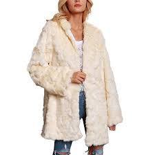 Amazon Com Allywit Women Ladies Warm Fleece Faux Fur Coat