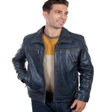 men s scully premium lambskin leather jacket 42 denim