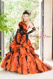 halloween wedding dress in orange and black wedding dress