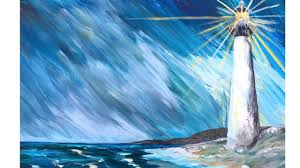 lighthouse in a storm step by step acrylic painting on canvas for begi