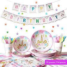 <b>Unicorn Party Supplies</b> Birthday Tableware Set Service 16 Guest ...