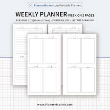 Weekly Planner Online Printable Weekly Planner Weekly Schedule Weekly Agenda Week On 2 Pages Personal Size Printable Planner Inserts Refills Instant Download