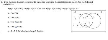 Probability Of A Given B Venn Diagram Solved 9 Given The Venn Diagram Containing 10 Outcomes B