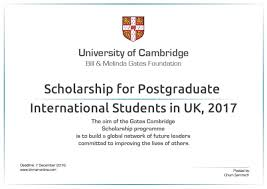 gates cambridge scholarship for postgraduate international  gates cambridge scholarship for postgraduate international students in uk 2017 university university of cambridge