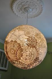 shabby chic doily pendant light fixture globe by hobbyfelt chic lighting fixtures
