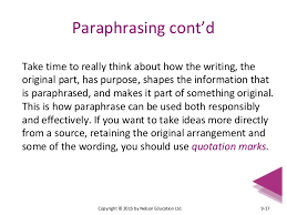 chapter essay essentials paraphrasing