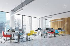 open office architecture images space. Stock Photo - Wooden Wall Open Space Office Interior With Panoramic Windows, Columns, Colored Chairs And Rows Of Tables Computer Monitors On Them. Architecture Images A