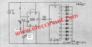 led chaser circuit by ic 4017 ic 555 eleccircuit com the circle 10 led running lights