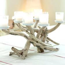 beach driftwood decor seven candle candelabra with votive plates table  centerpiece art