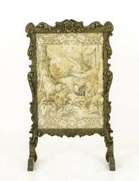 b430 victorian tapestry firescreen in heavily carved wooden frame