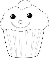 Kleurplaat Chocolade Cupcake Met Een Vrolijk Gezichtje Om Van Te