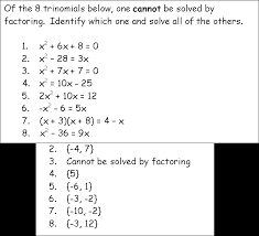 solving quadratic equations by factoring with trinomial a ¹ 1