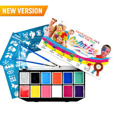 face paint paint set for kids s best quality face painting kit professional palette 12 colors stencils brushes plastic case