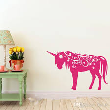 unicorn vinyl wall decal animal wall sticker art room home decor kids room stickers decorative wall decals girls wall stickers with 14 76 piece on