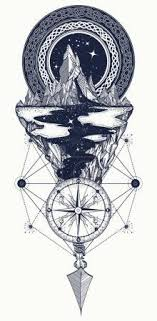 Vektorová Grafika Hory Kompas šipka Tetování Dobrodružství