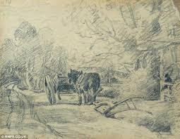 a previously unknown sketch by john conle that is said to be an early inspiration for