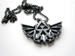 legend of zelda necklace hyrule s royal crest made from black mirror plastic