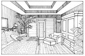 Unbelievable Interior Design Bedroom Sketches One Point Perspective