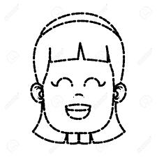 Cute Girl Face Icon Vector Illustration Graphic Design