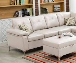 myco furniture macy modern white bonded leather sectional w storage ottoman order