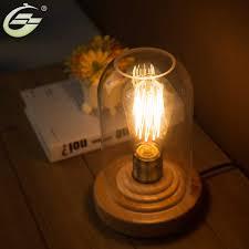 Desk Lamp Light Bulb Yuenslighting Loft Vintage Industrial Glass Wood Desk Lamp
