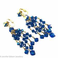 1950s petrol blue crystal cha cha chandelier earrings