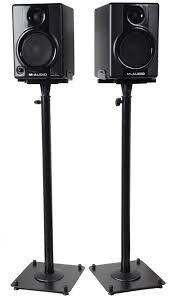 speakers stand. built to accommodate satellite surround speakers, this pair of videosecu speaker stands will adjust from 26.5 up 47-inches. the extremely durable black speakers stand