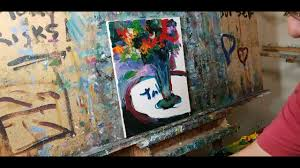 abstract expressionism oil painting of a still life with red flowers by jose trujillo