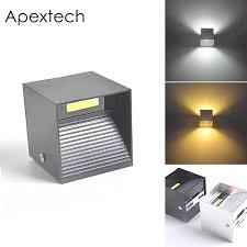 <b>Apextech</b> Aluminum <b>LED</b> Wall <b>Lights</b> 9W Black Silver Square TV ...