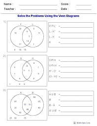 Venn Diagram Practice Sheets Venn Diagram Worksheets Set Notation Problems Using Two