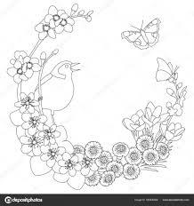 Lente Bloemen Elegante Krans Kleurplaat Pagina Stockvector For